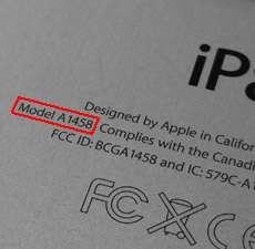 Modellnummer auf der Rückseite des Apple iPad