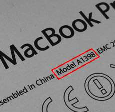 Modellnummer auf der Rückseite des Apple MacBook