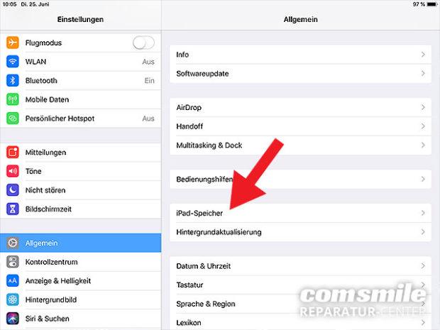 iPad Speicher voll: Übersicht aufrufen
