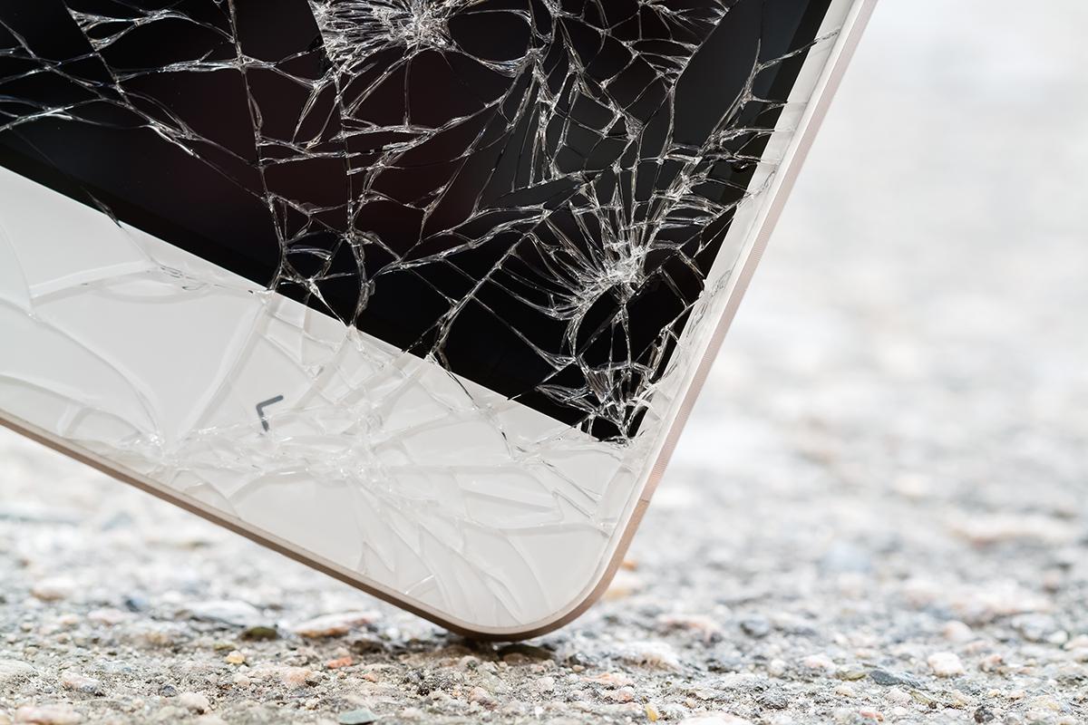 Heruntergefallenes Smartphone